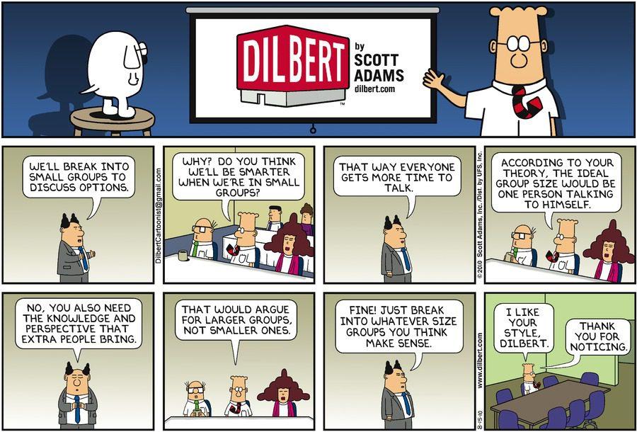 Dilbert on team meetings