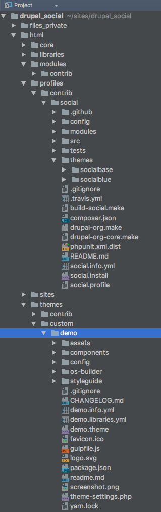 custom theme folder structure in relation to social base theme