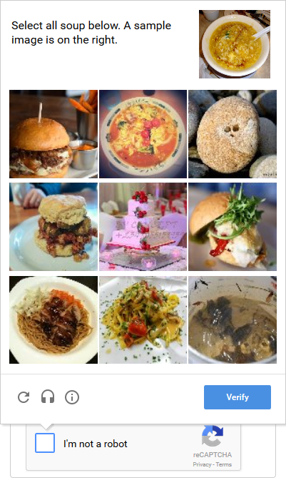 Example of Google reCaptcha verification for comment sections