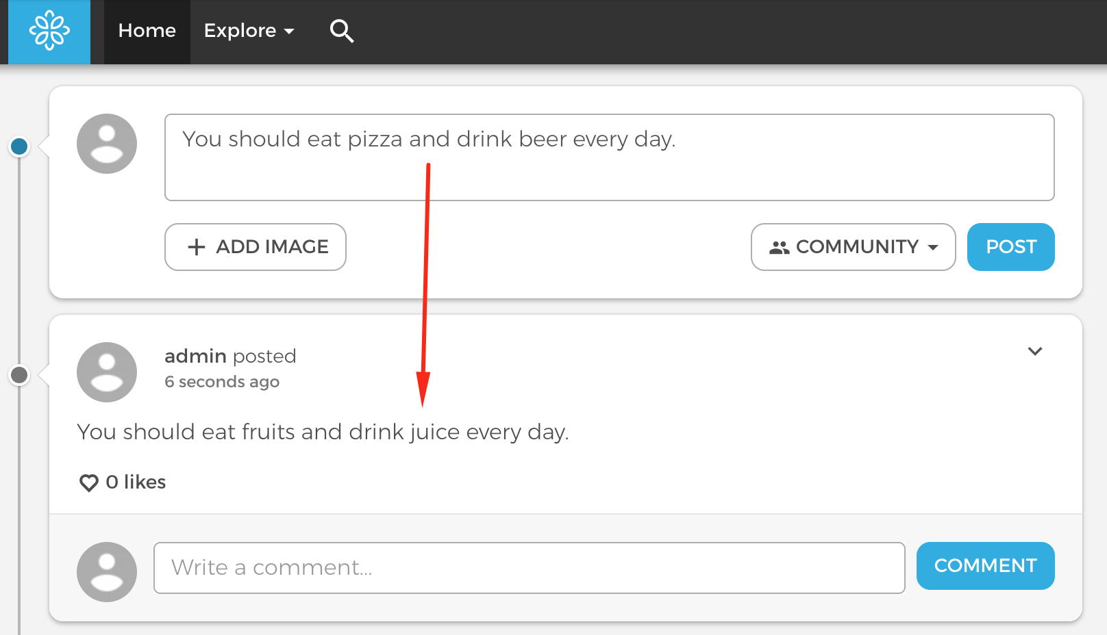 Example of Wordfilter replacement for comment sections