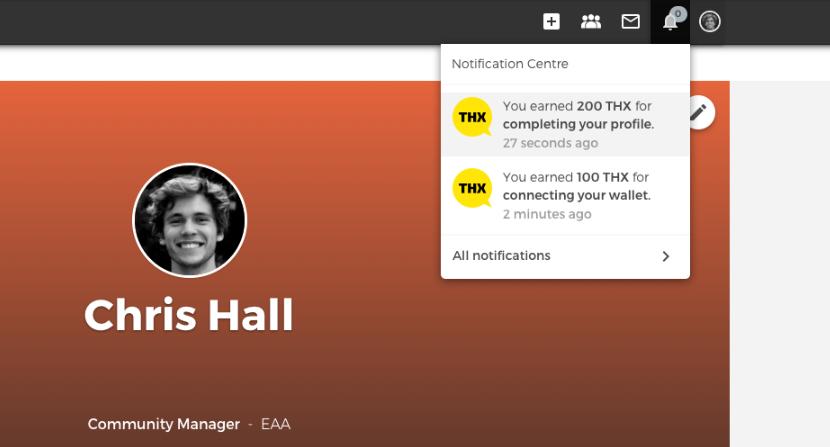 Receiving THX tokens Open Social notification