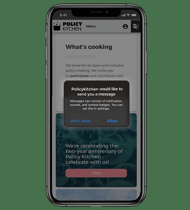 Native app push notification