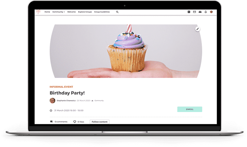 Screenshot of birthday event