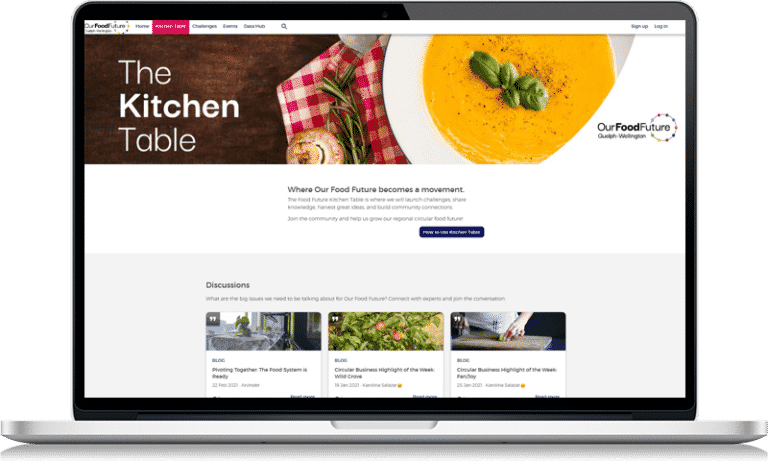 Our Food Future online community on laptop